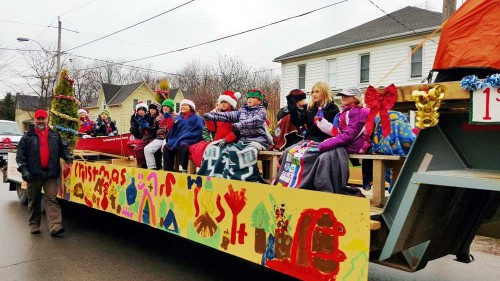 Float with children during the Strathroy Santa Claus Parade.